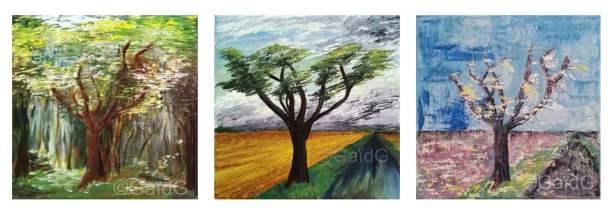 Asphyxie - Acrylique sur toiles - triptyque - 25x65 cm