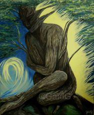 Femme végétale - Acrylique sur toile - 46x38cm