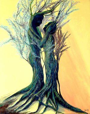 Les Amants Pétrifiés - Acrylique sur toile - 92x73 cm