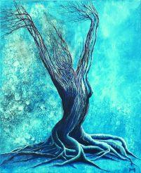 Eveil hivernal - Acrylique et encre sur toile - 61 x 50 cm (vendu)