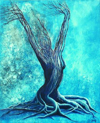 Eveil hivernal - Acrylique et encre sur toile - 61 x 50 cm