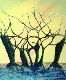 Sortant de l'eau - Acrylique sur toile - 61x50 cm
