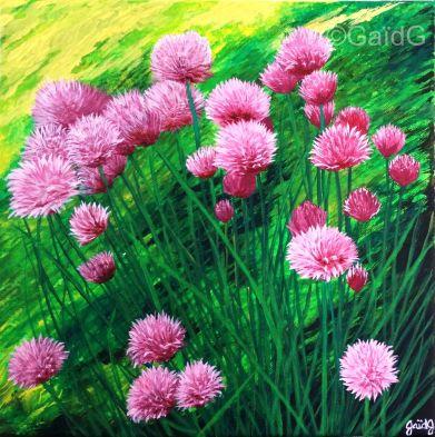 Ciboulette - Acrylique sur toile - 30x30 cm