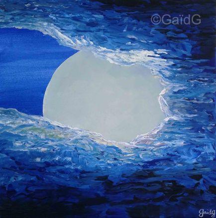 Lune - Acrylique sur toile - 30x30 cm