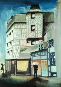 Rennes sous la pluie - Acrylique sur toile - 50x70cm