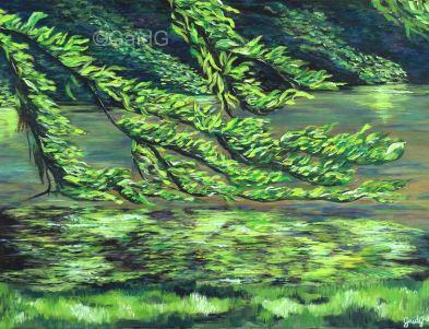 Branche caressante - Acrylique sur toile - 61x46cm