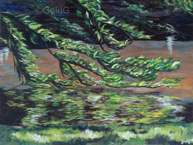 Branche caressante - Acrylique sur toile - 61x46 cm
