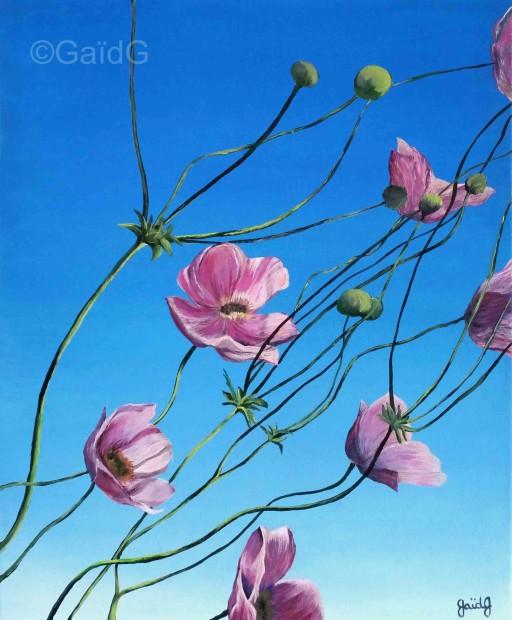 Fleurs d'Abutilon - Acrylique sur toile - 46x38cm