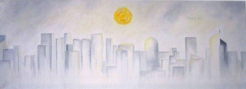 Soleil ouaté et apaisant (Skyline la Défense) - Huile sur toile - 80x30 cm