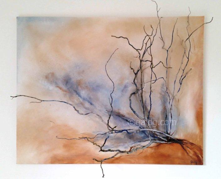 Branches - Acrylique sur toile et branches - 92x73 cm