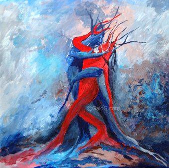 Tango 3 - Acrylique sur toile - 20x20 cm (vendu)