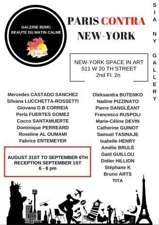 Paris Contra New-York 31 aout au 6 sept 2016