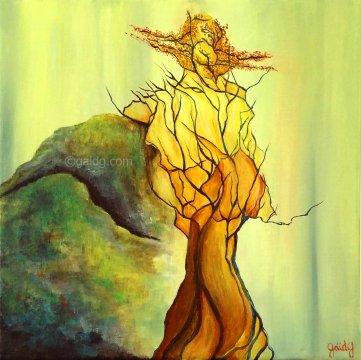 Japanese Tree 1 - Acrylique sur toile - 30x30 cm