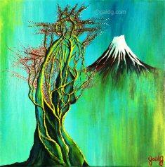 Japanese Tree 2 - Acrylique sur toile - 30x30 cm