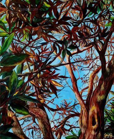 Reflets d'automne - Acrylique sur toile - 38x46 cm