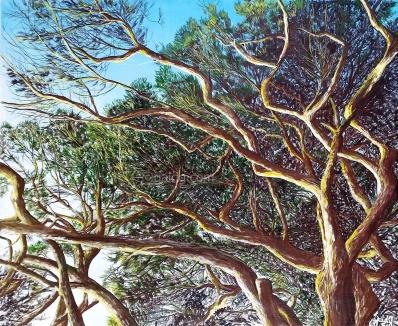 Fin de journée - Acrylique et encre sur toile - 46x38 cm