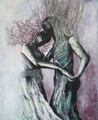 Danse - Acrylique et encre sur toile - 50x61 cm