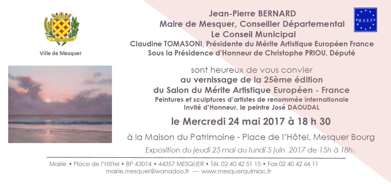 Invitation vernissage 25ème Salon du MAEF du 5 mai 2017