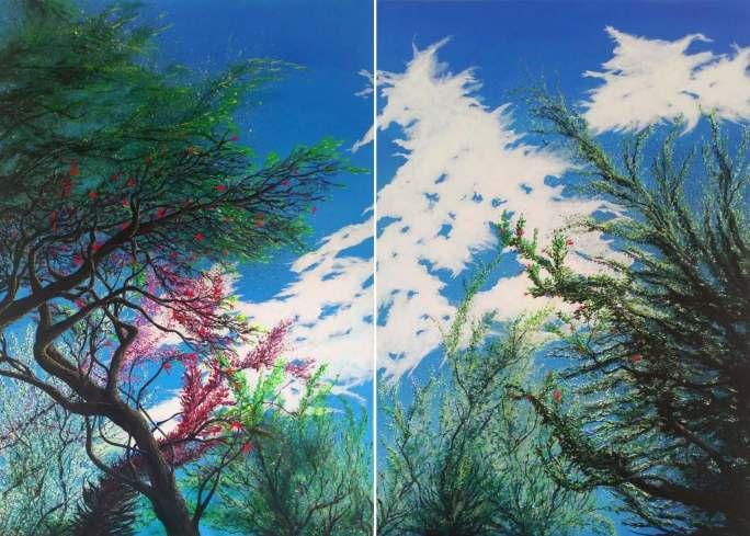 Diptyque été - Acrylique et encre sur toile - 140 x 100 cm