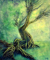 Rêverie et lascivité - Acrylique et encre sur toile - 46x55 cm