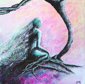 Méditation - Acrylique et encre sur toile - 30x30 cm