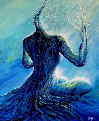 Contemplation - Acrylique et huile sur toile - 61x50 cm