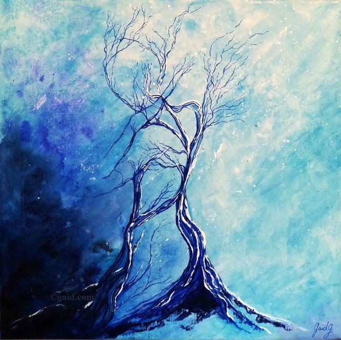 Solitude - Acrylique et encre sur toile - 50x50 cm