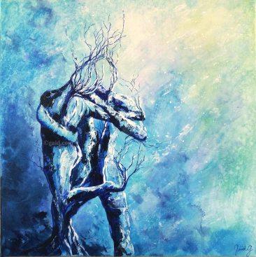 Tango Move - Acrylique et encre sur toile - 50x50 cm