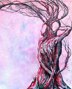 Couple enlacé - Acrylique et encre sur toile - 50x61 cm