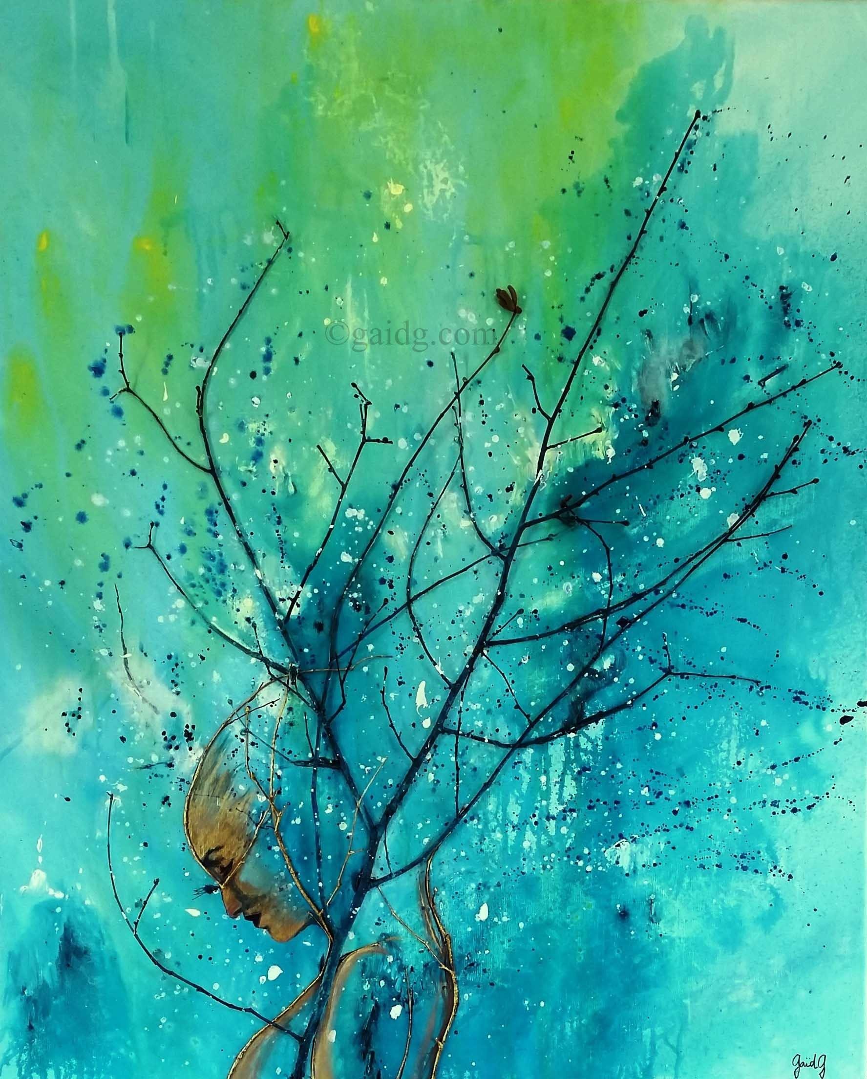 Penée Végétale - Acrylique et bois sur toile - 81x100 cm