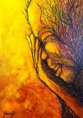 Relax - Acrylique et encre sur toile -13x18 cm