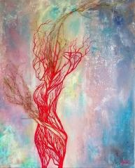 Emergence- Acrylique et branches sur toile - 81x100-cm