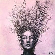 Anthropomorphisme - Acrylique sur toile - 30x30 cm