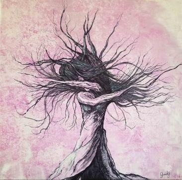 Trans en danse - Acrylique sur toile - 30x30 cm